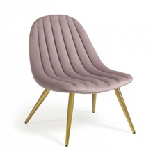 Fotel LENEMAR - różowy/złoty