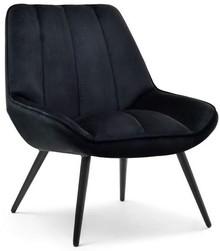 Fotel welurowy ZOTI - czarny