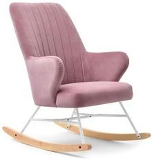 Welurowy fotel bujany FLEUR - różowy/biały/buk