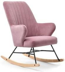 Welurowy fotel bujany FLEUR - różowy/czarny/buk