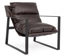 Fotel ISOLD - brązowy (skórzany)
