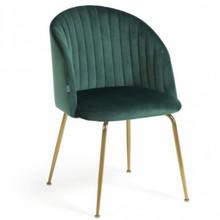 Krzesło tapicerowane NALUMI - ciemnozielony/złoty