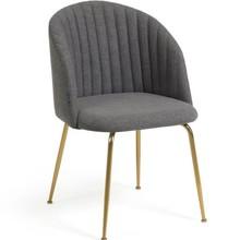 Krzesło tapicerowane NALUMI - ciemnoszary/złoty